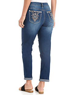 Art Deco Pocket Skinny Roll Cuff Jeans