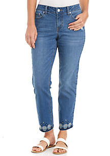 Straight Fit Jeans with Cross Stitch Hem