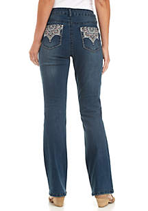 Plus Size Bootcut Jeans with Art Deco Pockets