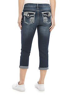 New Directions® Flap Pocket Bling Cropped Ankle Capris