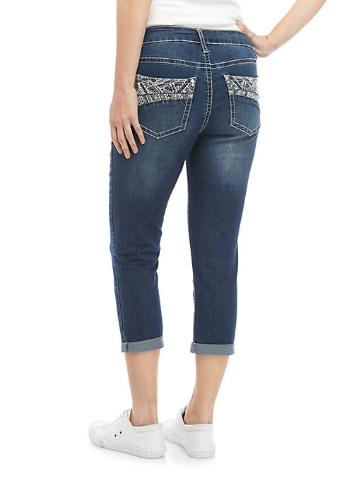 Asymmetrical Curved Bling Altered Capris
