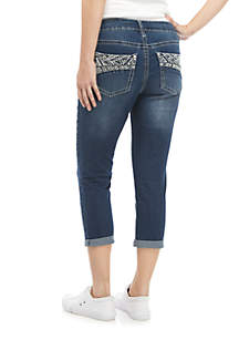 New Directions® Asymmetrical Curved Bling Altered Capris
