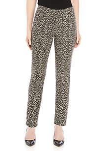 New Directions® Washed Animal Denim Jeans with Button Hems