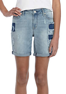 Rolled Cuff Patched Denim Shorts