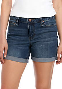 New Directions® Braided Belt Loop Jean Shorts