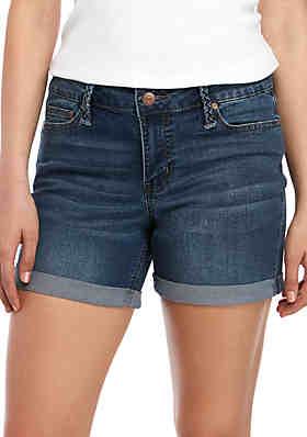 fae9c3c7e4 New Directions® Braided Belt Loop Jean Shorts ...