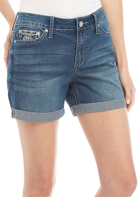 New Directions® Bling Rolled Cuff Jean Shorts