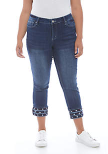 New Directions® Plus Size Stars and Stripes Rolled Cuff Denim Jeans