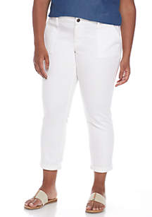 Plus Size Twill Ankle Pants