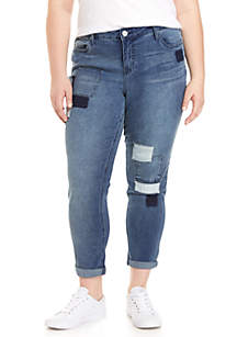 Plus Size Patch Girlfriend Fit Jeans