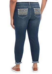 Plus Size Embellished Hem Jeans