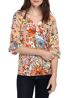 New Directions® Button Front Floral Knit Blouse