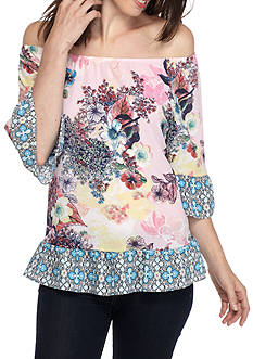 New Directions® Crepe Off-the-Shoulder Flounce Blouse