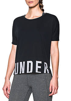 Under Armour® Wordmark Hem Cropped V-Neck Tee