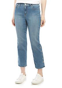 Gloria Vanderbilt Rail Straight Jeans with Snaps