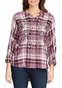 Yvette Embroidered Plaid Shirt