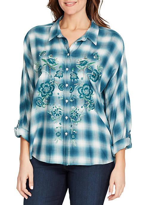 Gloria Vanderbilt Yvette Embroidered Plaid Shirt