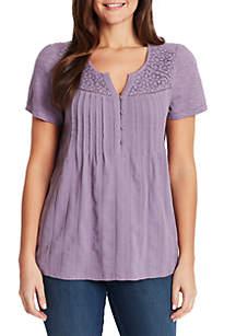 Gloria Vanderbilt Zoey Knit To Woven Top