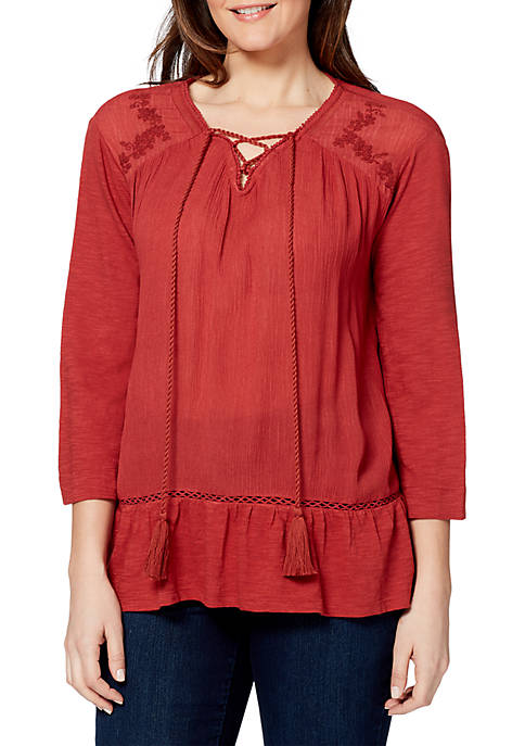 Womens Cindy Embroidered Crinkle Peasant Top