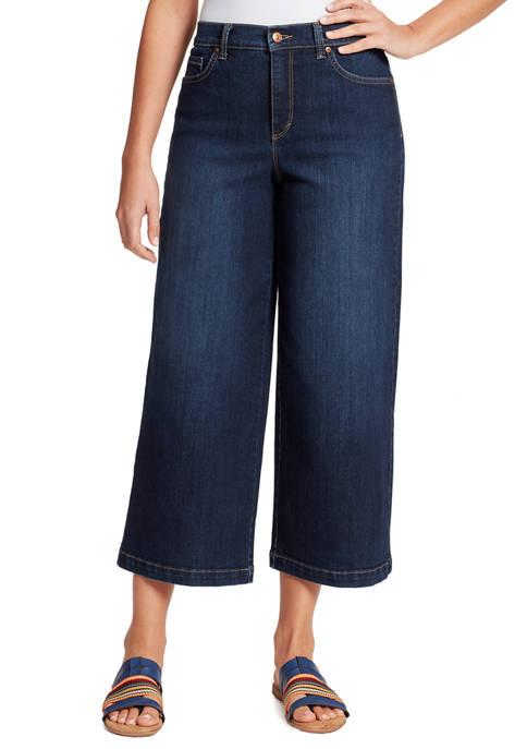 Gloria Vanderbilt Womens Amanda Wide Leg Cropped Jeans