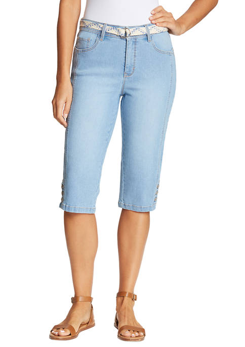 Gloria Vanderbilt Womens Mila Belted Skimmer Capri Pants