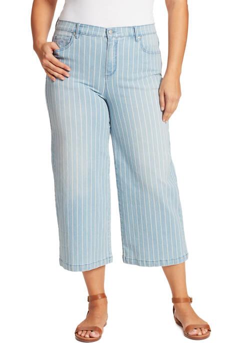 Gloria Vanderbilt Plus Size Striped Wide Leg Cropped