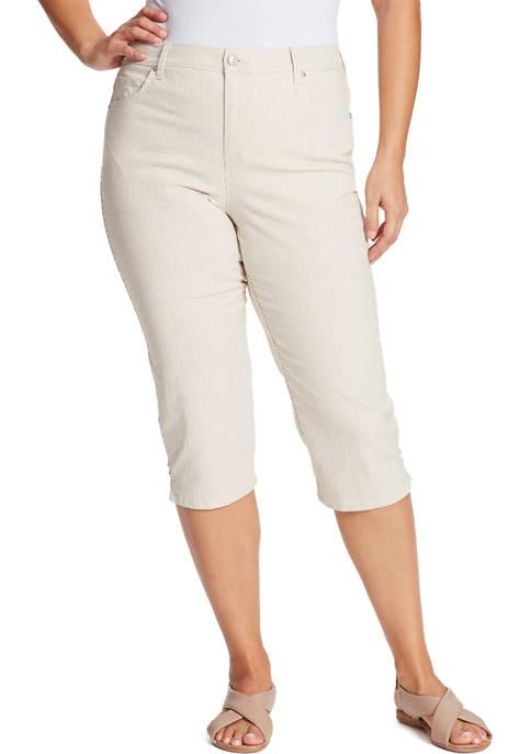 Gloria Vanderbilt Plus Size Natural Ticking Stripe Capris