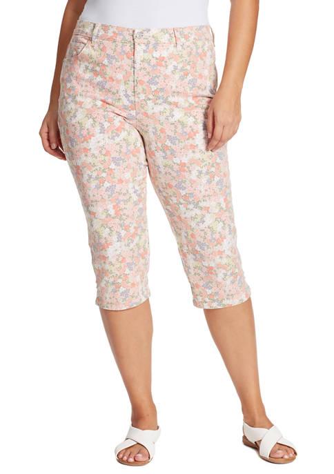 Gloria Vanderbilt Plus Size Amanda Bejewelled Floral Capri