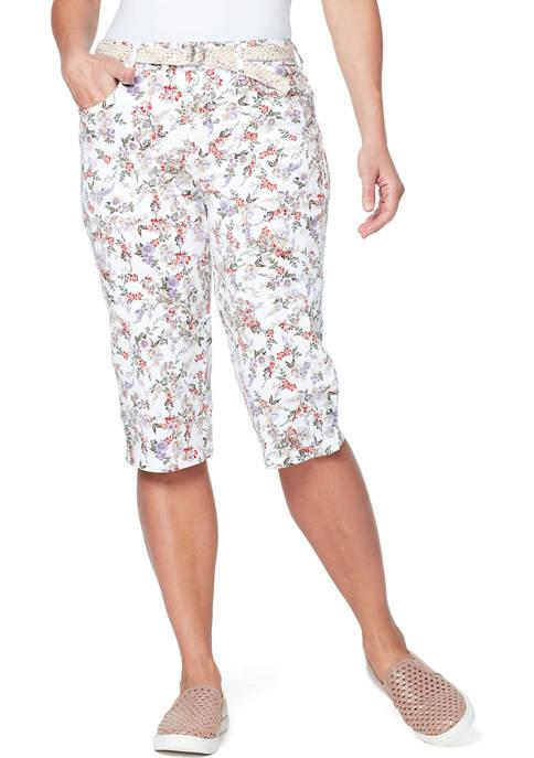 Gloria Vanderbilt Womens Mila Belted Skimmer Pants