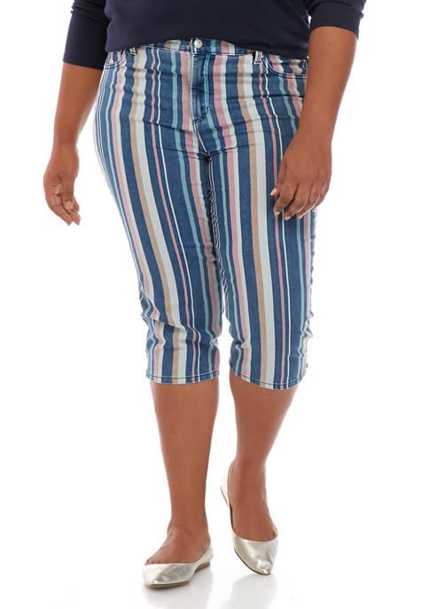 Gloria Vanderbilt Plus Size Multi Stripe Amanda Denim