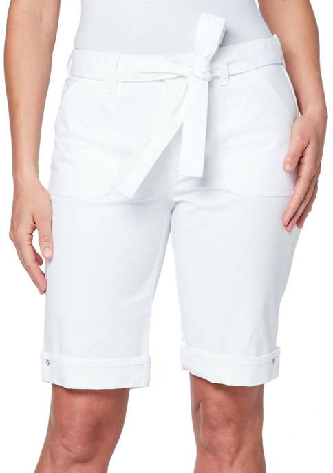 Gloria Vanderbilt Petite Self Belted Bermuda Shorts