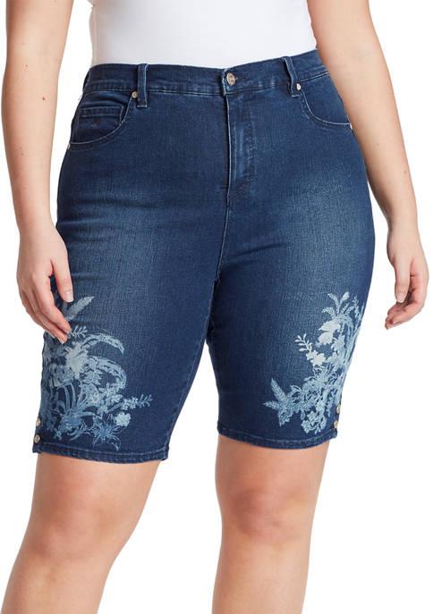 Gloria Vanderbilt Plus Size Amanda Hibiscus Bermuda Shorts