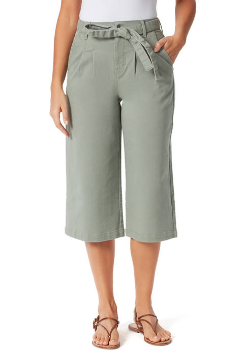 Gloria Vanderbilt Womens Pleated High Rise Culotte Pants