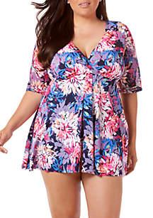 Plus Size Swim Gallery Flyaway Swim Dress with Sleeve