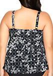 Plus Size Lattice Triple Tier Tankini Swim Top