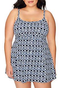 Shapesolver Plus Size Cottage Tile Empire Swim Dress