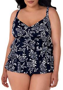 Shapesolver Plus Size Nantucket Triple Tier Fauxkini Swimsuit