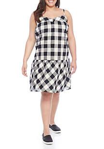 Plus Size Gingham Drop Waist Dress