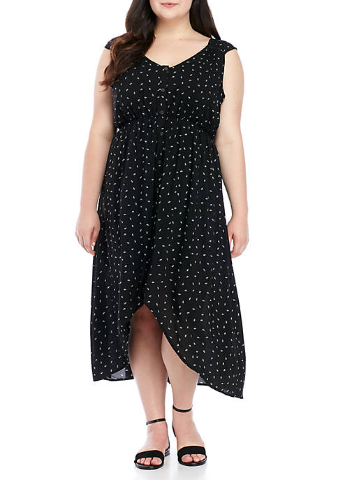 Plus Size Printed Button-Front Dress