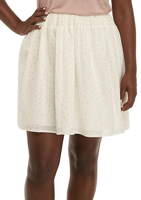 Plus Size Smocked Waist Printed Skirt