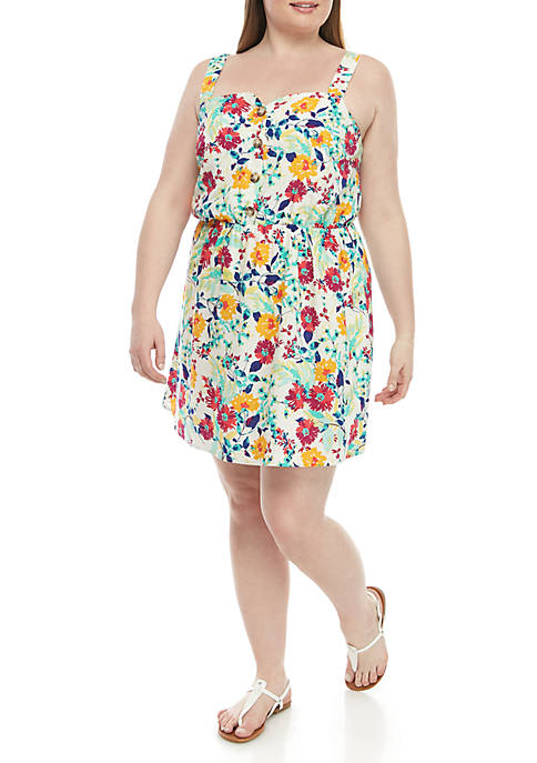 TRUE CRAFT Plus Size Floral Button Front Dress