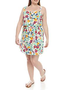 TRUE CRAFT Plus Size Floral Button Front Dress
