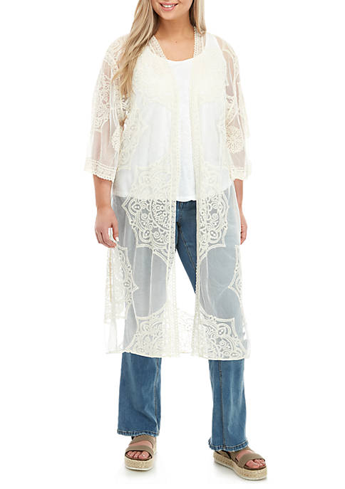 Plus Size Lace Kimono