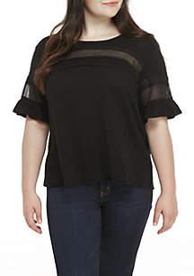 Plus Size Crochet Flutter Sleeve Tee Shirt