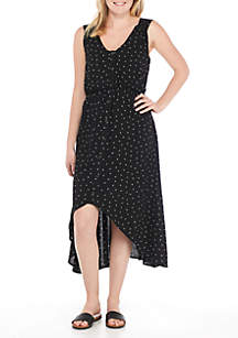 Button Front High Low Dress