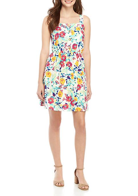 TRUE CRAFT Floral Print Button Front Dress