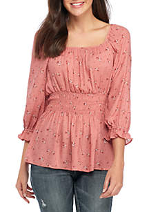 Floral Cinched Waist Woven Blouse