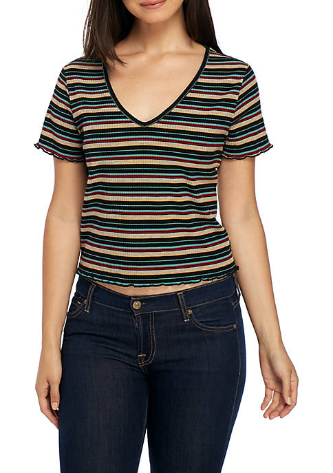 TRUE CRAFT Striped Rib Short Sleeve Tee