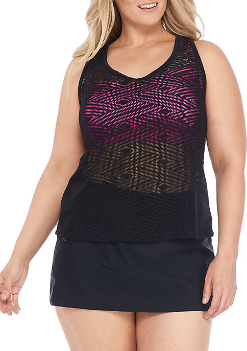 ZELOS Plus Size Sporty Splice Crochet 2Fer