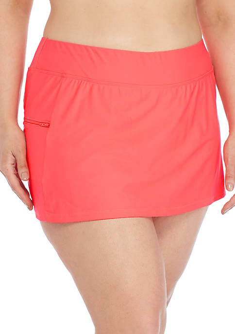 ZELOS Plus Size Solid Skirtini